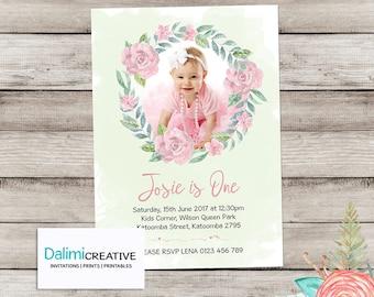 Photo Invitation - 1st Birthday Photo Invitation - Floral Birthday Invitation - Watercolour Wreath Invitation- Print Yourself Invitation!