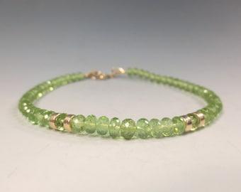 Peridot Bracelet, 14k Gold Fill August Birthstone Bracelet, Peridot Jewelry Peridot Layering Bracelet Gemstone Bracelet (#2156)