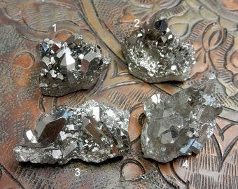 Titanium Crystal Clusters Mystic Black Diamond Crystal Quartz Point Cluster - You CHoose (RK86B11-15)