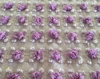 Vintage Vantona purple rosebud chenille bedspread piece