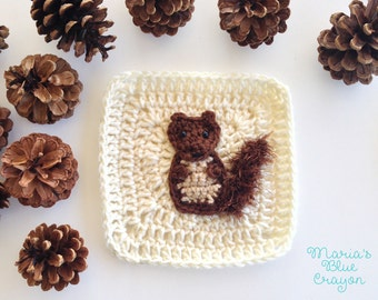 Woodland Squirrel Granny Square Crochet Pattern - Woodland Afghan Series