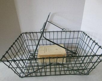 Vintage Green Wire Basket  Wire Carrier  Metal Basket  Industrial Decor  Farmhouse Decor  Country Decor  Handled Basket Storage  Organizer