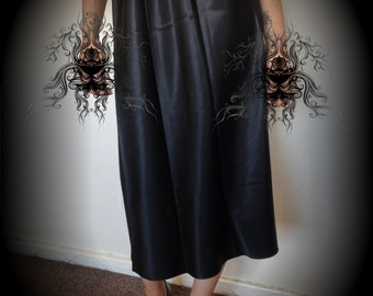 Vtg 80's ROMANTIC GOTH black satin petticoat skirt S/M