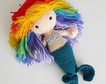 Rainbow Hair Mermaid Crochet Amigurumi Decorative Doll - Handmade decorative art doll - nursery decor- little mermaid - MADE TO ORDER custom