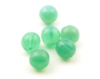 Lot (6) 13mm antique Czech hand molded Uranium opaline green glass beads 2424-159