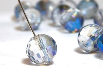 4 Crystal Ball Beads, Disco Ball Crystals, 12mm Crystal Bead, Disco Balls, Large Crystal Beads, Large Round Crystal Beads, Blue Beads, D-C01