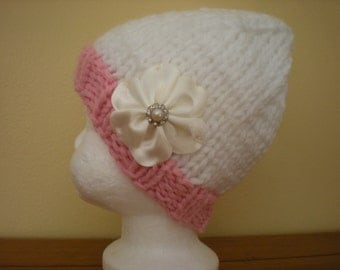Handknit Infant Girl's Hat, Infant Girl's Knit Hat, Knit Baby Girl's Hat; White Handknit Baby Hat; Handknit Pink Hat