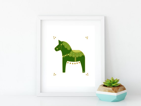 Irish Dala Horse Art Print, Instant Digital Download