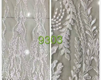 5yards wedding corded lace fabric ,embroidery lace with 3D flower, white lace fabric -9303