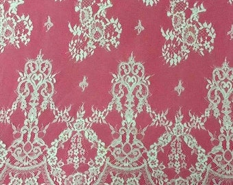 Chantilly Lace Fabric, 59 inches Wide for wedding Veil, Dress, Costume, Craft Making-corded Lace, off white lace-7153