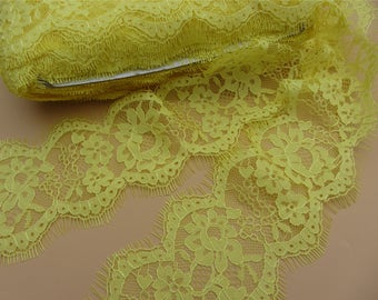 Skirts lace fabric, 3 meters yellow French Chantilly Lace ,Exquisite Eyelash Lace Trim,Wedding lace fabric,Lace trimming,