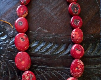 Vintage Coral Necklace Chunky Rustic Old Coral Beads,Red Coral Necklace, sponge coral necklace, Large coral necklace,red coral jewelry 24""
