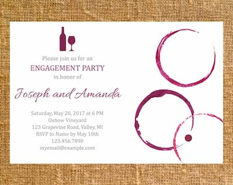 Customized Wine Ring Invite - Digital File