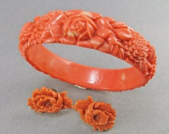 Vintage Celluloid Coral Bangle Set Carved Celluloid Coral Earrings 1930S Bracelet Set Jewelry
