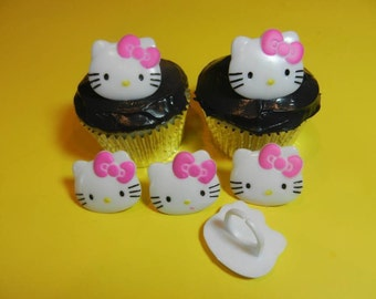 12 Hello Kitty Cupcake Rings Toppers Party Favors Cake Decorations