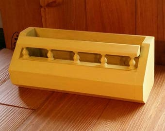 Planter Shelf Yellow Wall Storage  w Spindles Craft Office Organizer Painted Wood Vintage Home Decor Planter