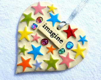 SOLDMosaic Imagine art, unique mosaic heart, ceramic word art, imagine word art, thoughtful gift, inspirational gift, positive word art