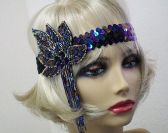 Flapper Headband, Gatsby Headband, 1920s Headband, Flapper Headpiece, Art Deco Headband, Iridescent Black,  1920s Hair Accessories