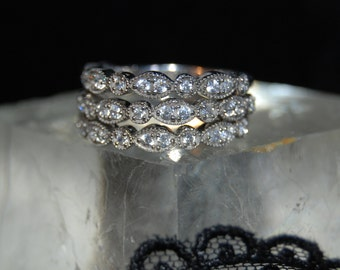 Sterling Silver and CZ Vintage Milgrain Stacking Ring Matching Half Eternity Anniversary Wedding Bands #BKC-RNG217 18 19