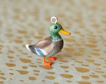Hand Sculpted Mallard Duck Pendant with Chain