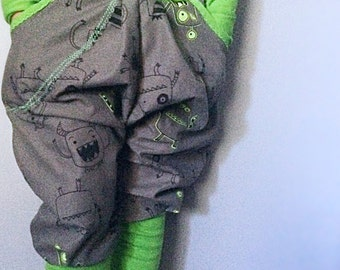 Gray & green monster pants // baby boy/ baby girl pants • made to order
