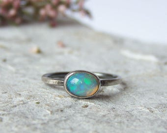 Opal Sterling Silver Ring, Minimalist Ring, Oxidized Sterling Silver Ring, Opal Ring, Delicate Ring, FOR ORDER