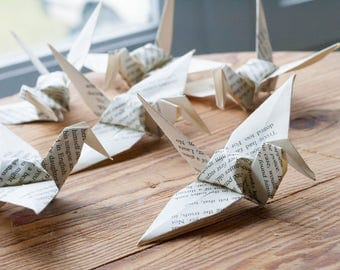 1000 LARGE Recycled Origami  Origami Paper Crane - Book Page Origami - Wedding Favours - Folded Paper Birds - Ornament Decoration -