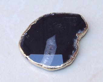 Black Agate Druzy Faceted Bead  - Black White Druzy Slab Bead Pendant - Druzy Agate Pendant - Gold Edge - 41mm x 51mm - 2967