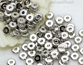50 Or More, Heishi Disk Coin Beads, 5mm Flat Heishi Beads, 5 mm Spacer Beads, Accent Beads, Non-Tarnishing Rhodium Plated, 50 or More, 4161