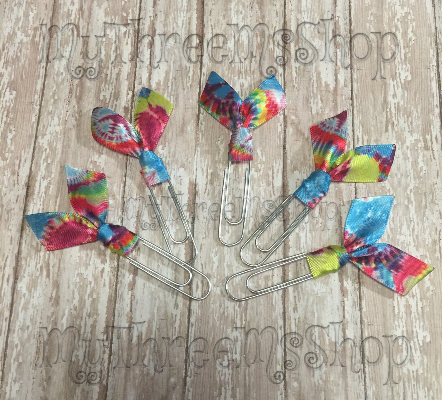 Tie dye ribbon bookmarks planner paper clips peace sign tie for How to tie a ribbon on a bookmark