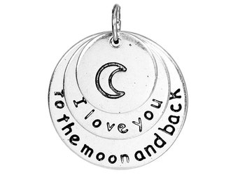 """Antique Silver Moon Message Charms """" I love you to the moon and back """" 25mm"""