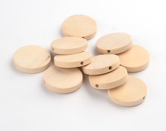 10pcs Large Flat Round Wood Beads Smooth Blanks 25mm