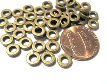 100pcs Antique Bronze Closed Round Rings Spacer Beads 6x2mm ( No.631)