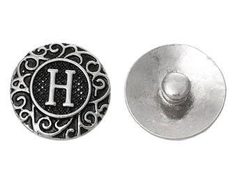 "1pc 19mm Antique Silver Alphabet /Letter ""H"" Snap Button Charms Knob Size: 5.5mm( 2/8"")"