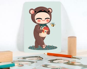 Card - Collection Les Adorables Costumés: the bear - ideal for baby gift - baby shower present - nursery decor