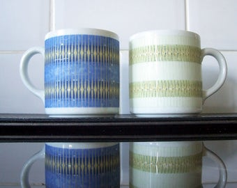 Pair of Mugs Jahre Bareuther Waldsassen Bavaria Germany Porcelain