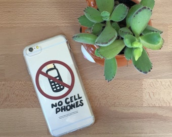 No Cell Phones iPhone Case, Your choice of Soft Plastic (TPU) or Wood