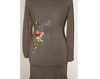Brown Dress, Embroidered Dress, Woven Dress