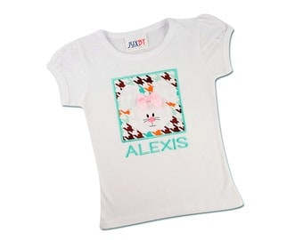 Girl's Easter Shirt with Bunny Box and Embroidered Name - F85