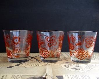 Vintage 1960s Cerve Italy Glass Set Of 3 / Mid Century / Barware / Kitchenware / Cups & Glasses / Orange Swirls / Kitsch / Drinking Cups