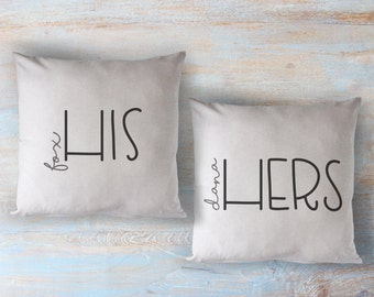 PERSONALIZED his and hers / hers and hers / his and his - 2 printed throw pillows - 5 sizes