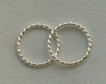 16g (1.2mm) Closed Twisted Sterling Silver Jump Ring - Individual