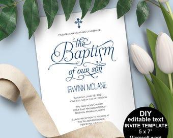 Boy Baptism invitations, Baptism invitation printable, Baptism invitation boy, template, editable text, Christening, Navy,