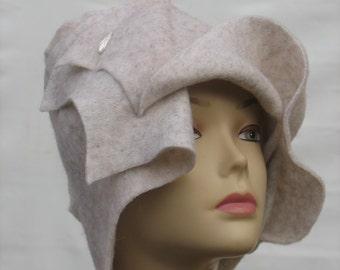 Women Winter hat Art deco hat Gatsby Style Cloche Kentucky Derby hat Art to wear wearable art couture clothing handmade hat hand embellished