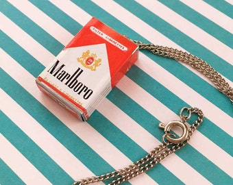 Marlboro Cigarette Pendant, Cigarette Package Necklace, 50s 60s Smoking Kitsch, Iconic Flip Top Pack Charm, Vintage Smoking Collectible