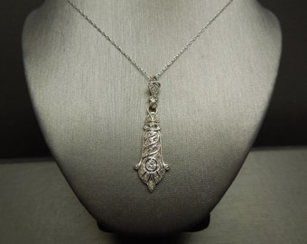 Antique Edwardian Estate C1910 Platinum 14K Gold Filigree 0.36TCW Old European & Rose cut Diamond Pendant Lavalier 1.5""