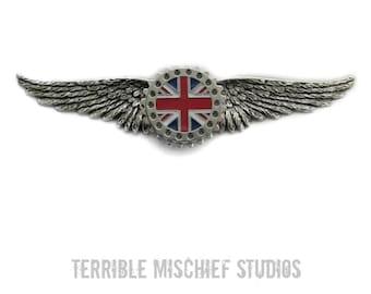 "Steampunk ""Empire""  British Flag Medallion Wings Pin"