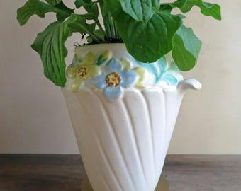 Weller Art Pottery Floral Vase Mi-FLO Pattern 1930's, Rose Blossom Flower Matte Vase
