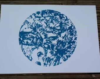 Blue lobster screen printed art, modern screen print,  blue silkscreen print, wall art poster, wall decor, nature art print, art print