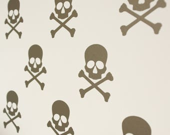 Skull and Crossbone Pirate Vinyl Wall Art Decals/Stickers - Various Colours & Sizes